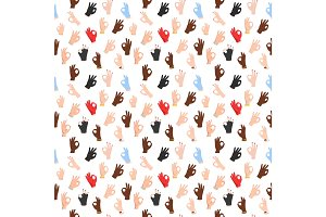 Seamless pattern with ok hand gestures