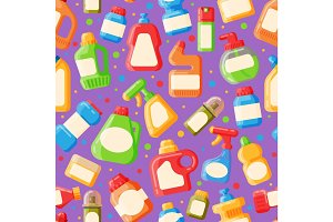 Home clean bottle seamless pattern vector illustration