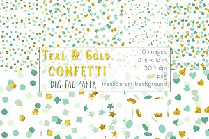 Teal & Gold Digital Paper