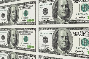 100 dollar bills in distance 3d perspective