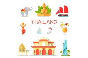 Set of Icons with Thailand National Symbols