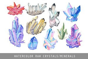 Raw crystal watercolor clipart