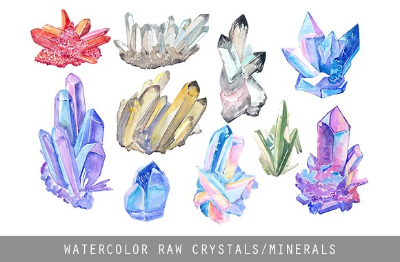 Raw crystal watercolor clipart illustrations creative for Paintings of crystals