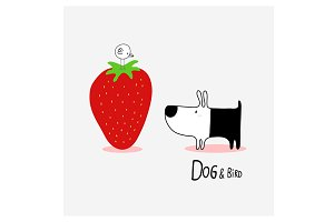Dog & Bird Strawberry