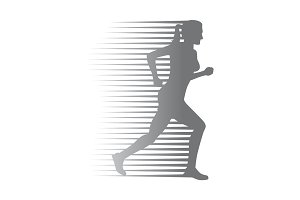 Silhouette of Isolated Running Woman on White