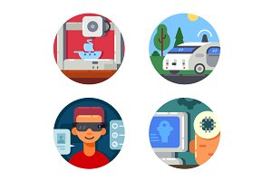 Innovative technology set icons