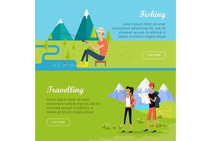 Set of Summer Vacation Flat Vector Web Banners