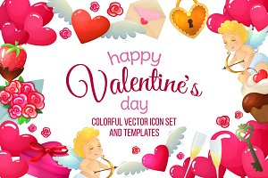 Colorful Valentine's Day icons set