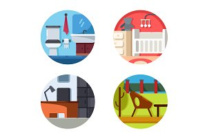 Furniture icons of set
