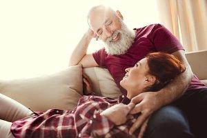 Happy man looking at woman