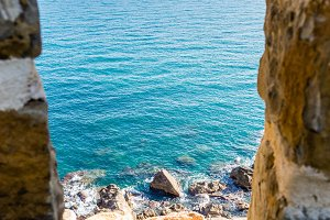 infinity sea view from the walls of Koroni fortress