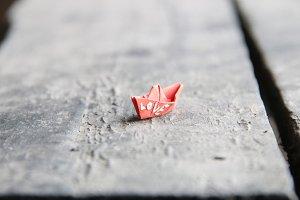 love idea, the inscription on a paper boat