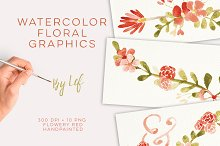 Floral watercolor wedding clipart