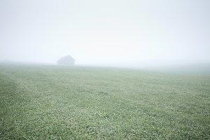 House in foggy field