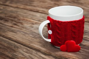 Cup and red hearts