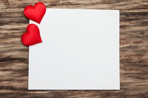 Greeting card with red hearts