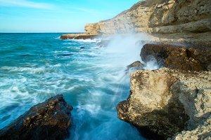 Big waves breaking on shore