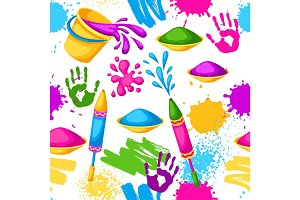Happy Holi colorful seamless pattern. Illustration of buckets with paint, water guns, flags, blots and stains