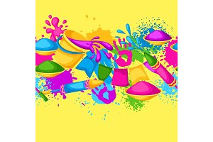 Happy Holi colorful seamless border. Illustration of buckets with paint, water guns, flags, blots and stains