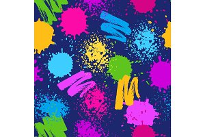 Colorful seamless pattern. Grunge background with paint splashes, blotches, spots and drops