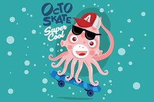 Skater Cool Octopus
