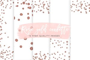 Rose Gold Confetti Overlays