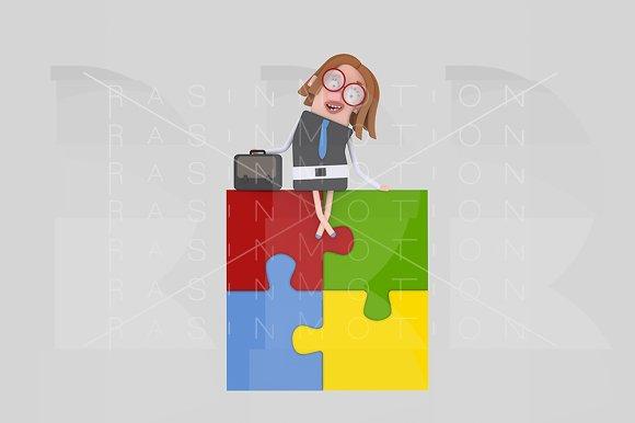 Businesswoman Sitting On Puzzle
