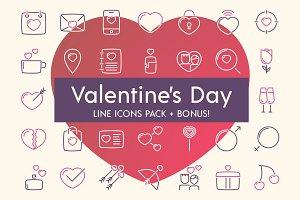 Valentine's day line icons + BONUS