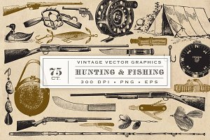 Hunting Fishing Vector Graphics