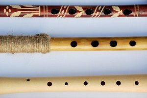 Real wooden flutes with holes