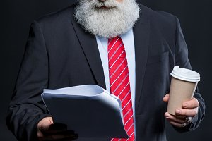 Senior bearded businessman