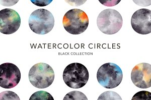Watercolor Circles. Black Collection