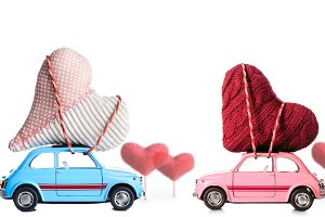 Retro toy car with Valentine hearts