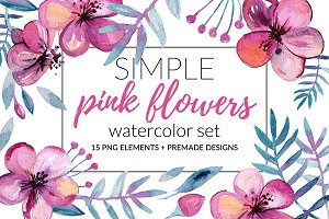 Simple Pink Flowers Watercolor Set