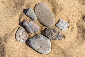 Sand and stone pebbles