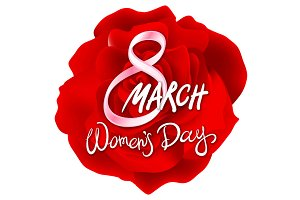 8 march womens day. red pink rose