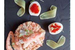 Gourmet appetizer with crab