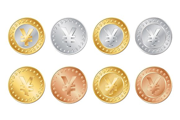 yen coins set icons creative market
