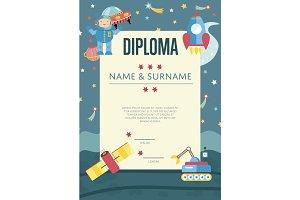 Diploma Cartoon Vector Template