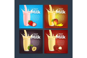 Milkshake concept with milk splash and fruit