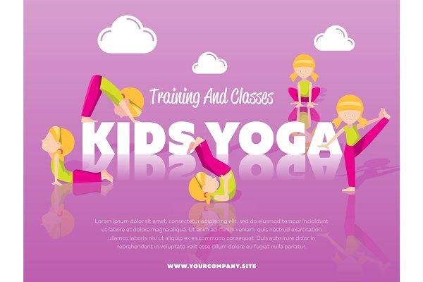 Training And Classes Kids Yoga Banner Pre Designed Illustrator Graphics Creative Market