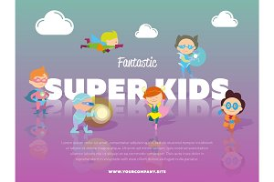 Fantastic super kids banner with children