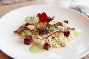 Risotto with fried porcini