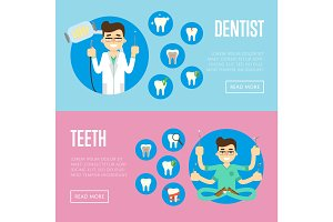 Dental office banners with male dentist