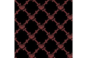 Ornamental seamless pattern with hearts
