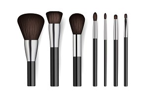 Realistic professional cosmetics brush set