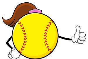 Softball Girl Giving A Thumb Up