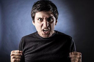 young man with Angry expression.