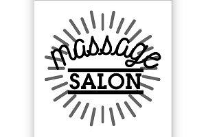 Color vintage massage salon emblem