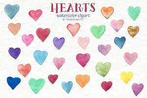 Watercolor Clip Art - Hearts